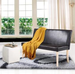 Brown Modern Cushioned Bench Wood Frame Sofa Bedroom Chair f