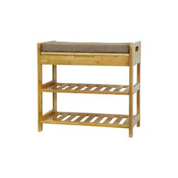 C&AHOME Bamboo Shoe Rack Bench, 3-Tier Free standing Shoe St