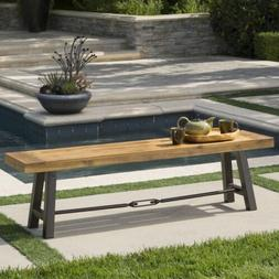Cana Outdoor Teak Finished Acacia Wood Bench with Rustic Met