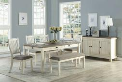 6 PC COUNTRY FARMHOUSE ANTIQUE WHITE STORAGE DINING TABLE BE