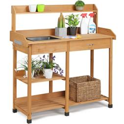 Potting Bench Table Garden Work Planting Benches Shelf with