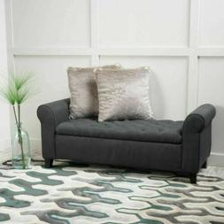 Charlemagne Dark Grey Tufted Fabric Armed Storage Bench
