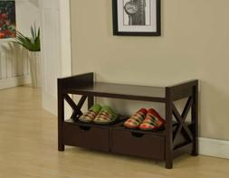 King's Brand Cherry Finish Wood Shoe Storage Bench With Draw