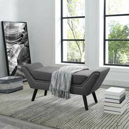 Contemporary Modern Upholstered Fabric Nailhead Trim Entrywa