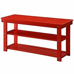 Convenience Concepts Oxford Utility Mudroom Bench, Red
