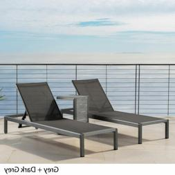 coral bay outdoor gray aluminum chaise lounge