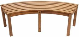 Curved Acadia Wood Garden Bench Campfire Patio Slatted Seat
