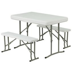 FLASH FURNITURE DAD-YCZ-103-GG White Plastic Fold Table/Benc
