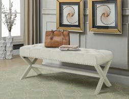 Dalit Updated Neo Traditional Polished Nailhead Tufted Linen