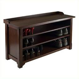 Winsome Dayton Storage Hall Bench with Shelves in Antique Wa