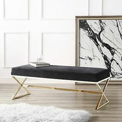 Della Entryway Velvet Bench with Gold or Chrome X-Legs
