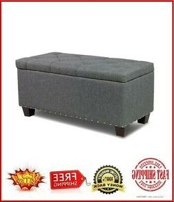 """Deluxe Linen Storage Ottoman Bench Footrest Stool Large Sto"
