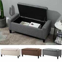 Deluxe Linen Storage Ottoman Bench Footrest Stool Large Stor