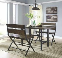 Dining Bench Chair Farmhouse Counter Double Barstool Distres