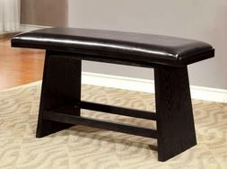 Furniture of America Dining Black Leather Bench