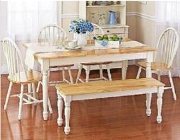 Dining Table Set 6 Person Wood Farmhouse Rustic Wooden Kitch