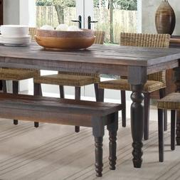 Dining Table Set for 6 with Benches Solid Wood Rustic Farmho