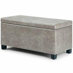 Simpli Home Dover Faux Leather Storage Ottoman Bench in Gray