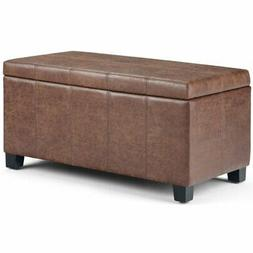 Simpli Home Dover Faux Leather Storage Ottoman Bench in Umbe
