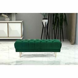 HomePop Downing Emerald Velvet Large Decorative Bench with G