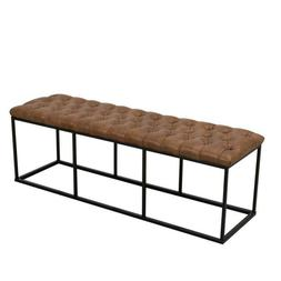 Draper Large Light Brown Faux Leather Decorative Bench With