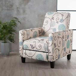 Great Deal Furniture | Dufour | White and Blue Floral Fabric