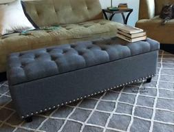 End of Bed Storage Bench Gray Tufted Soft Seat Hallway Bedro