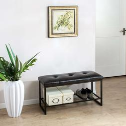 Entry Bench Shoe Cushion Storage Bedroom Space Saver Hallway