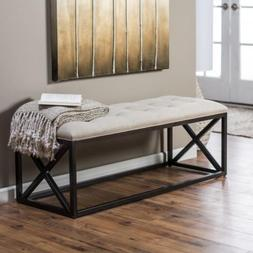Entryway Bench Tufted Linen Beige Cushion Metal Frame Ottoma