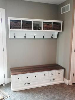 Entryway Cubby and Bench, Wall Storage Cubical with Matching