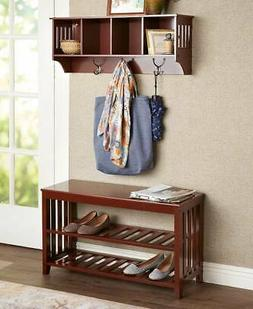 Entryway Mud Room Wall Shelf Hat Coat Rack Hall Mail Shoe St