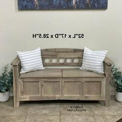 Entryway Storage Bench Rustic Wood Seat with Back French Cou