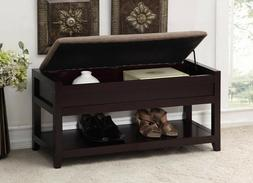 Entryway Storage Bench Seat Furniture Dark Brown Hallway Bed