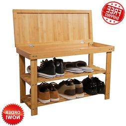 3 Tier Bamboo Shoe Rack Bench Entryway w/ Storage Drawer Che