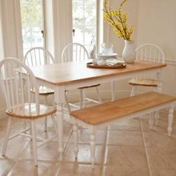 Boraam Farmhouse 6 Piece Dining Set with Bench, Natural, 6 P