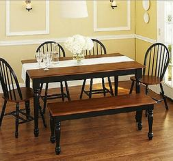 6 Piece Kitchen Dining Set Farmhouse Table Bench 4 Chairs So