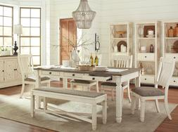 Farmhouse White & Brown Table Chairs Bench 6pcs Dining Room