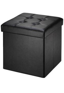 Faux Leather Folding Storage Ottoman Bench Foot Rest Stool S