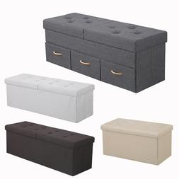 Faux Leather Folding Storage Ottoman Bench Large Size Chest