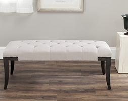 Florence Beige Tufted Nailhead Bench
