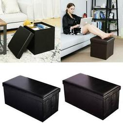 PU Leather Storage Ottoman Bench Footstool Seat Home Decor F