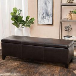 Furniture faux leather storage ottoman bench for living room
