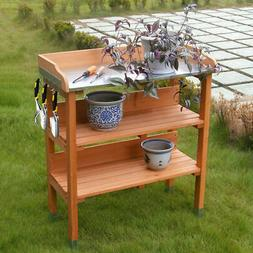 Garden Wooden Potting Bench Work Station Table Tool Storage