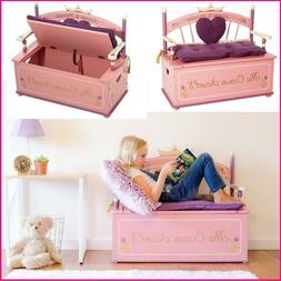 Girl Room Furniture Princess Storage Bench w Cushion Kid Bed
