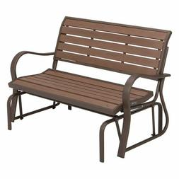 Glider Bench Synthetic Wood Loveseat Swing Outdoor Patio Yar