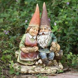 Gnome Loving Couple Wife on Bench Outdoor Statue Patio Garde