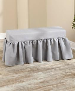 Gray Farmhouse Ruffle Cushioned Bench Seat Country Home Deco
