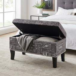 Gray Script Linen Storage Ottoman Bench Bed Room Entry Way T