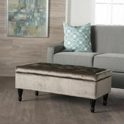 Gray Tufted Storage Ottoman Bench Large Bedroom Upholstered