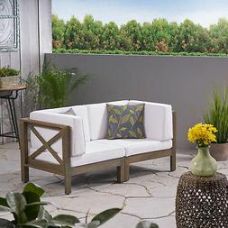 Great Deal Furniture Keith Outdoor Sectional Loveseat Set  2